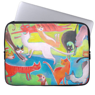 cool street cats painting laptop sleeve
