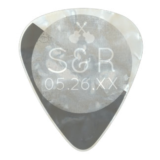 cool style wedding monogram with couple initials pearl celluloid guitar pick