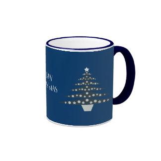 Cool & Stylish Blue Christmas Trees Ringer Mug