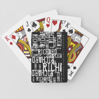 cool, stylish / modern b/w playing cards with name