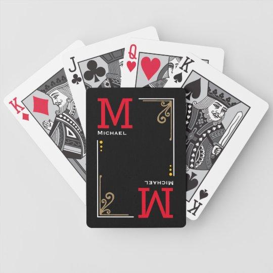 cool stylish player initials - personalised black poker
