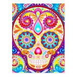 Cool Sugar Skull Art Postcard - Day of the Dead