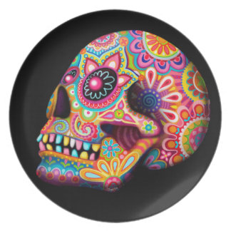 Cool Sugar Skull Plate - Day of the Dead Art