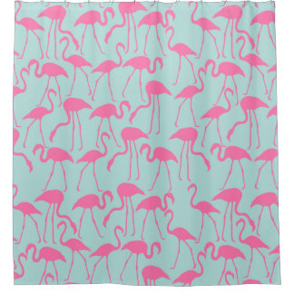 Cool Summer Flamingo Pattern Shower Curtain