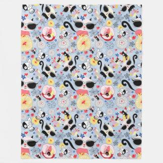Cool Summer Kitty Fleece Blanket