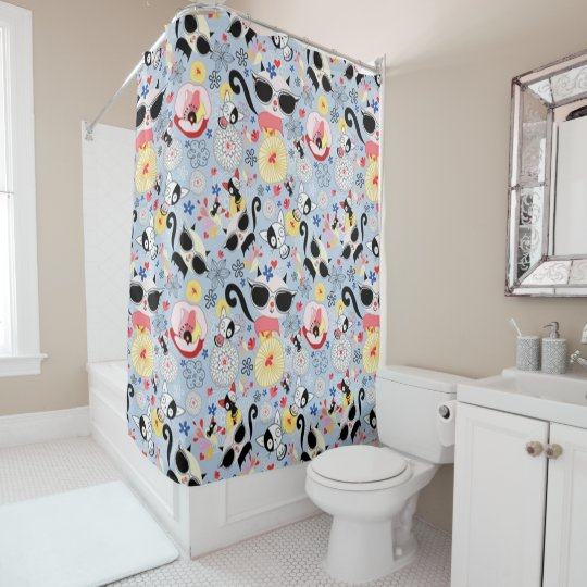 Cool Summer Kitty Shower Curtain