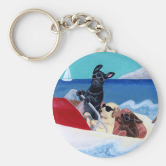 Cool Summer Labradors Painting Basic Round Button Key Ring