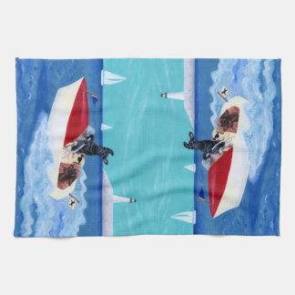 Cool Summer Labradors Painting Tea Towel