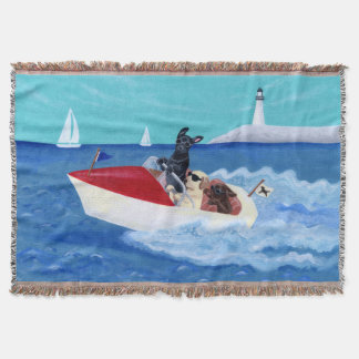 Cool Summer Labradors Painting Throw Blanket