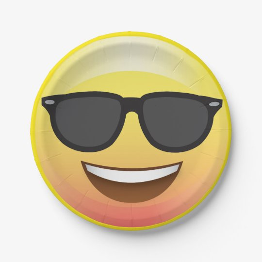 Cool Summer Sunglasses Emoji Party Plate