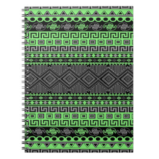 Cool summer trendy neon green grey black Aztec Notebook