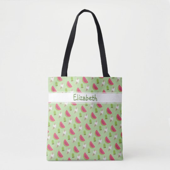 Cool Summer Trendy Watermelon Fashion Print Name Tote