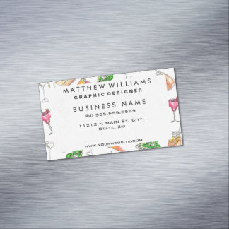 Cool Summer Watercolor Painted Mixed Drinks Patter Magnetic Business Cards