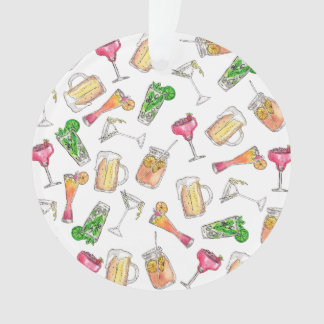 Cool Summer Watercolor Painted Mixed Drinks Patter Ornament