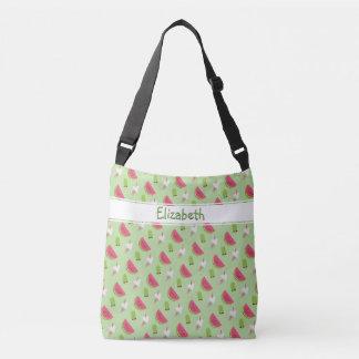 Cool Summer Watermelon Trendy Novelty Print Name Crossbody Bag