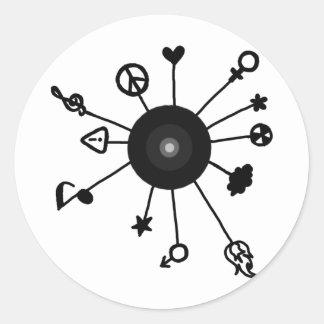 Cool Sun Design Round Stickers