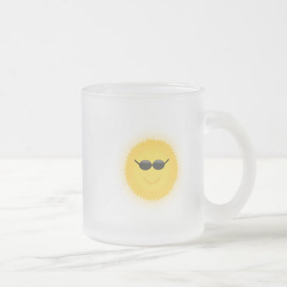 Cool sun with sunglasses in a cool sunny day frosted glass mug