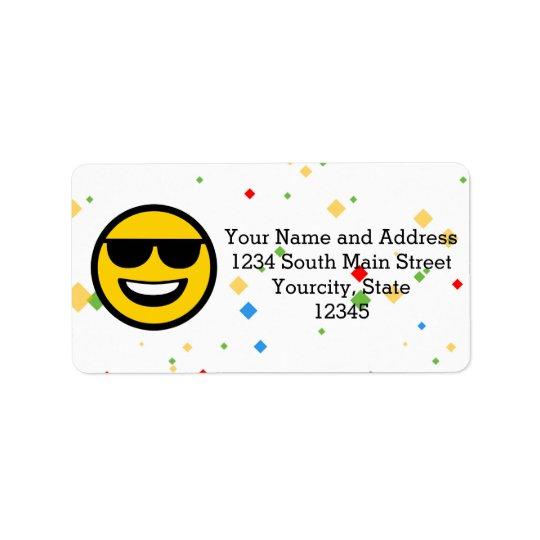 Cool Sunglasses Emoji Address Label