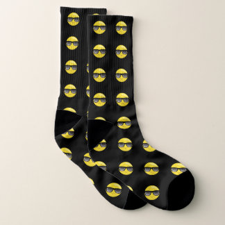 Cool Sunglasses Emoji Black Socks 1