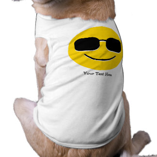 Cool Sunglasses Emoji (customizable) Sleeveless Dog Shirt