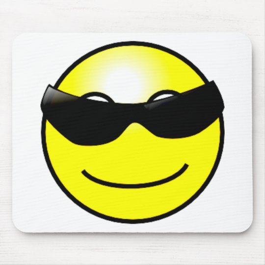 Cool Sunglasses Yellow Smiley Face Mouse Pad