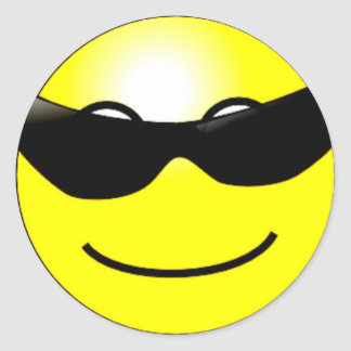 Cool Sunglasses Yellow Smiley Face Round Sticker