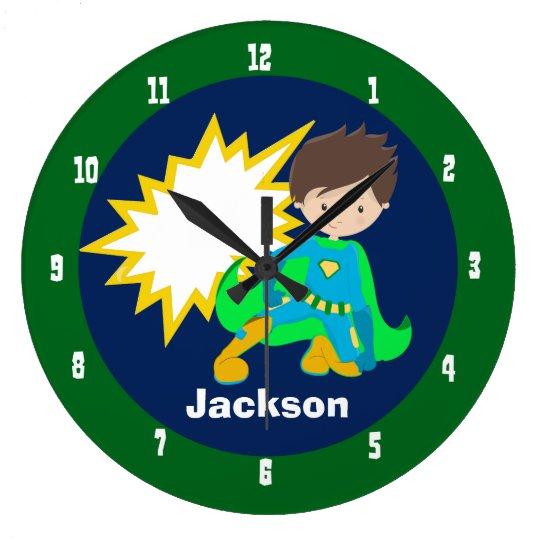 Cool Superhero Boy Large Clock