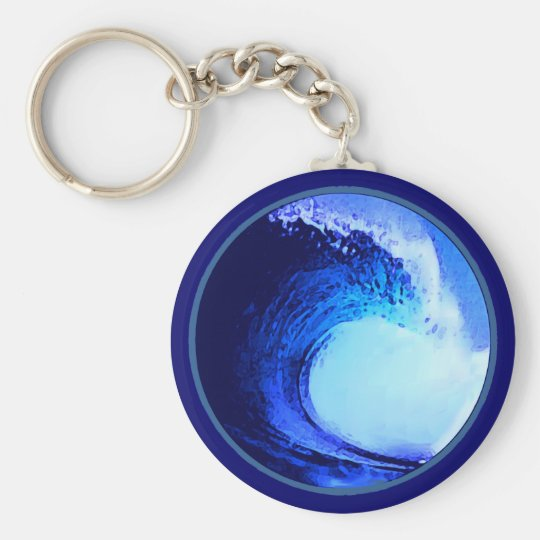 cool surf style blue wave key ring
