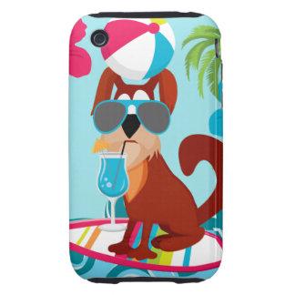 Cool Surfer Dog Surfboard Summer Beach Party Fun iPhone 3 Tough Case