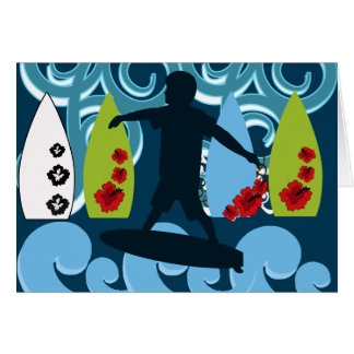 Cool Surfer Dude Surfing Beach Ocean Design Note Card
