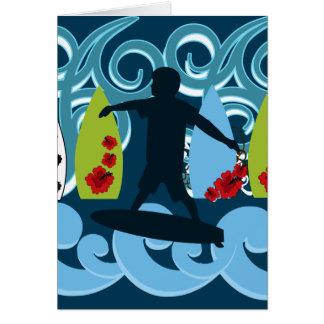 Cool Surfer Dude Surfing Beach Ocean Design Greeting Card