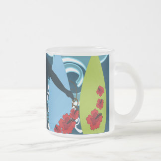 Cool Surfer Dude Surfing Beach Ocean Design Frosted Glass Mug