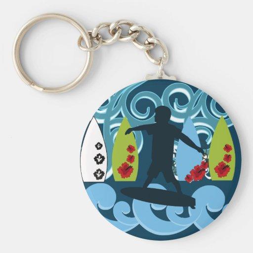 Cool Surfer Dude Surfing Beach Ocean Design Keychain