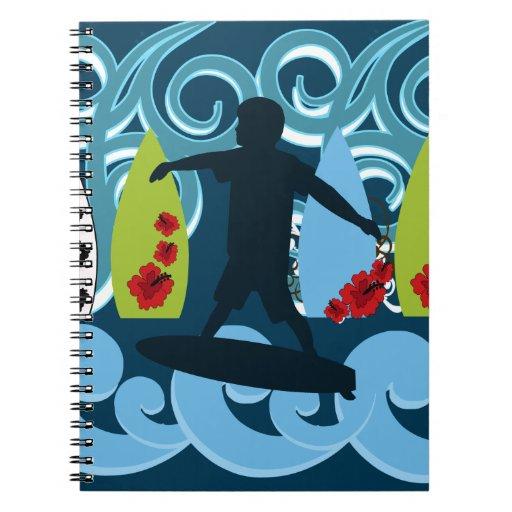 Cool Surfer Dude Surfing Beach Ocean Design Spiral Note Books