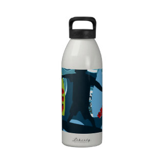 Cool Surfer Dude Surfing Beach Ocean Design Reusable Water Bottle