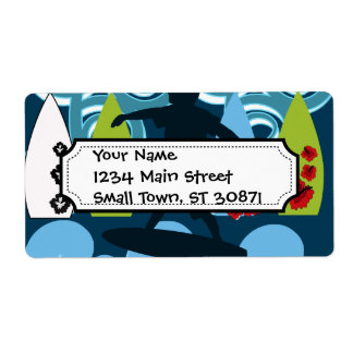Cool Surfer Dude Surfing Beach Ocean Surf Waves Shipping Label