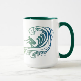 Cool Surfer Riding Teal Blue Ocean Waves Mug