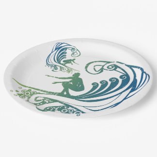 Cool Surfer Riding Teal Blue Ocean Waves Paper Plate