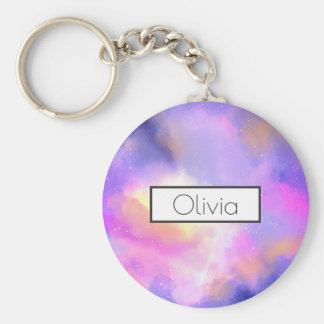 Cool Surreal Space Clouds Personalized Basic Round Button Key Ring