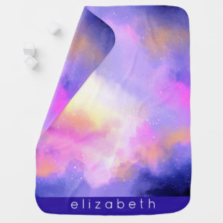 Cool Surreal Space Clouds Watercolor Design Baby Blanket