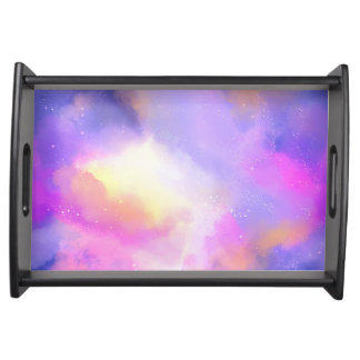 Cool Surreal Space Clouds Watercolor Design Serving Tray