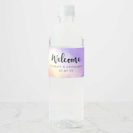 Cool Surreal Watercolor Design Welcome Wedding Water Bottle
