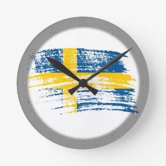 Cool Swedish flag design Round Clock