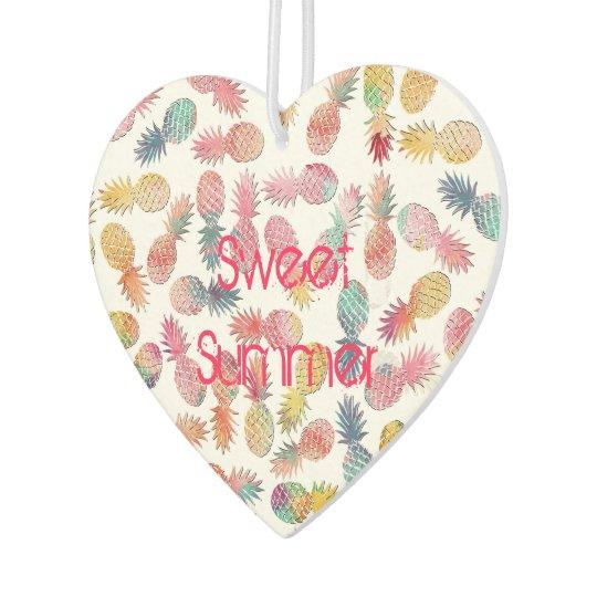 "Cool ""sweet summer"" watercolor pineapples pattern car air"