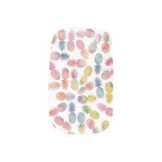 "Cool ""sweet summer"" watercolor pineapples pattern minx nail art"