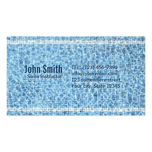 Cool Swimming Pool Swim Instructor Business Card
