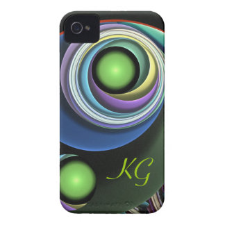 Cool swirling abstract iPhone 4 case with Monogram
