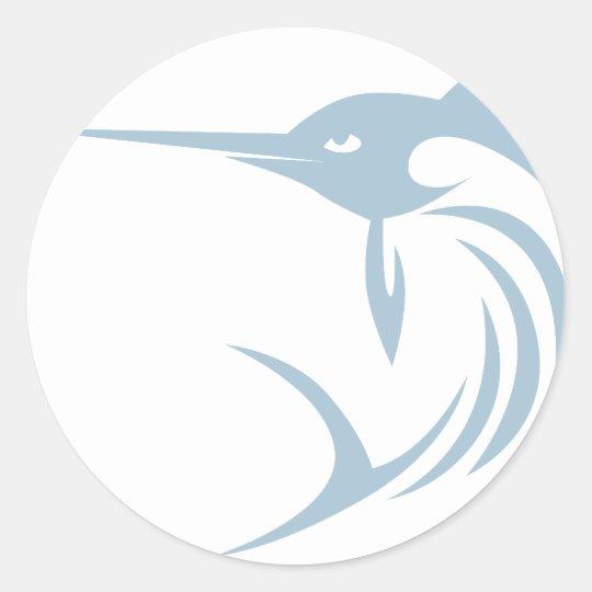 Cool Swordfish Icon Logo Shirt Round Sticker