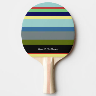 cool table tennis paddle with color stripes & name