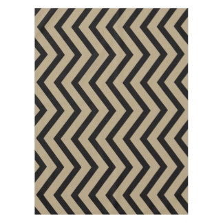 Cool taupe gold black Chevron  tablecloth